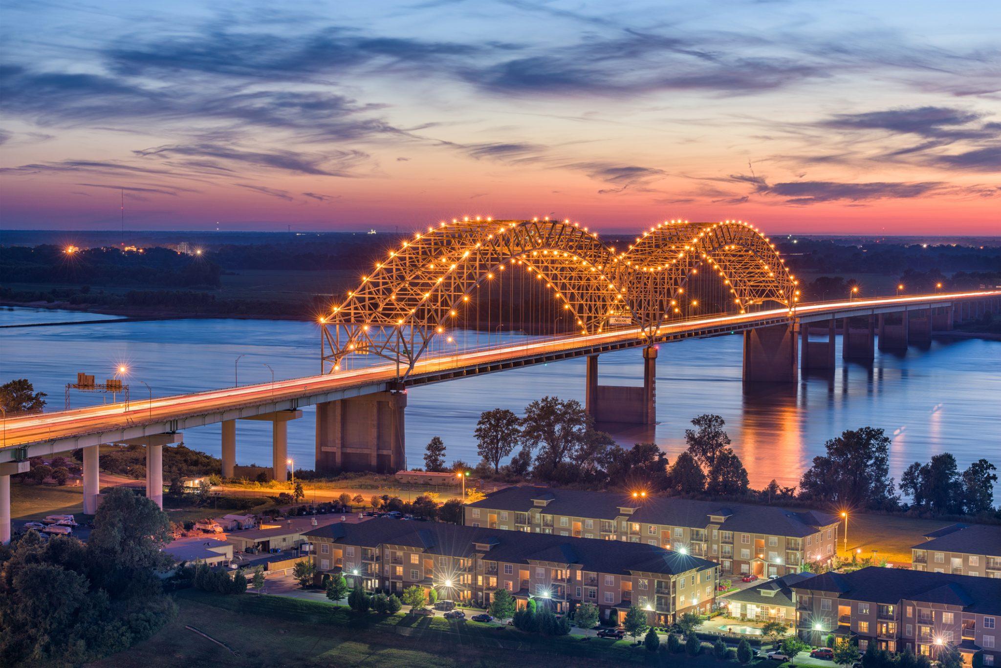 bridge lit up in memphis